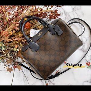 Coach purse brown khaki Signature coloeblock